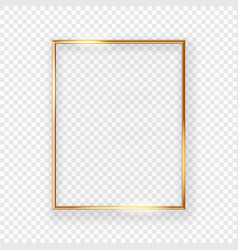 realistic shining golden picture frame on a wall vector image