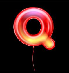 Red metallic balloon inflated alphabet symbol q vector