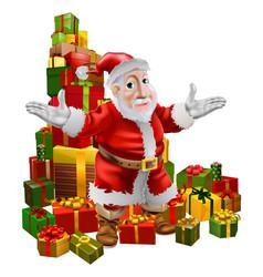 santa and christmas gifts vector image