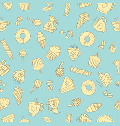 Seamless pattern of hand-drawn sweets icons vector