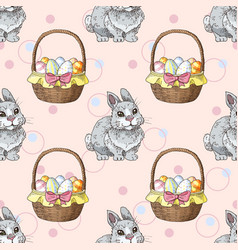 seamless pattern with easter rabbits and baskets vector image