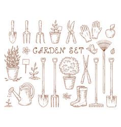 Set garden equipment vector