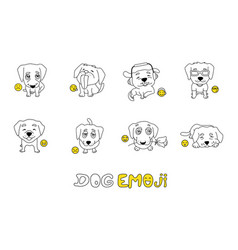 Set of emojis with cute dog for coloring vector