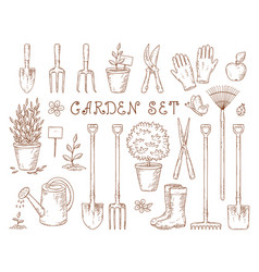 set of garden equipment vector image