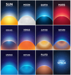set posters planet of solar system space vector image