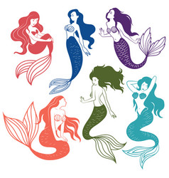 set silhouette mermaids collection stylized vector image