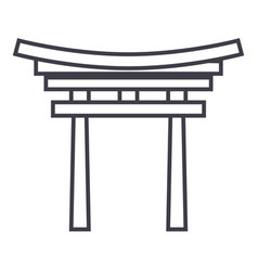 shinto line icon sign on vector image