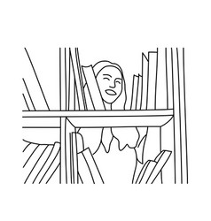 smiling woman chooses a book in library vector image