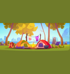 summer camp with tent campfire and lake vector image