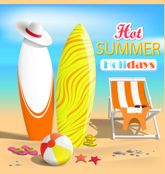 Summer surfboards and beach ball sea 3d vector