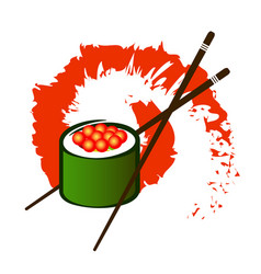 Sushi with caviar and chopsticks vector