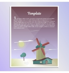 Template brochure landscape with windmill vector