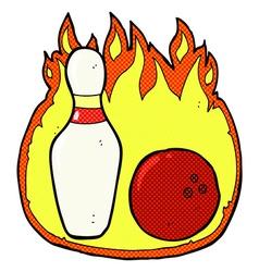 Ten pin bowling comic cartoon symbol with fire vector