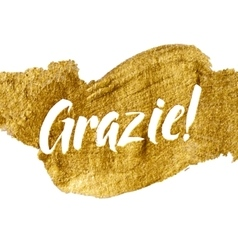 Thank You Italian Language White Letters Gold Foil vector