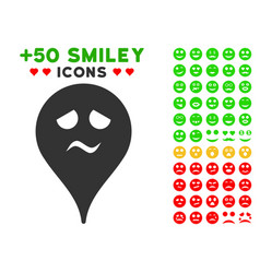 Trouble smiley map marker icon with bonus facial vector