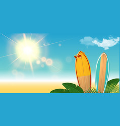 two surfboards with sunglasses on the beach vector image