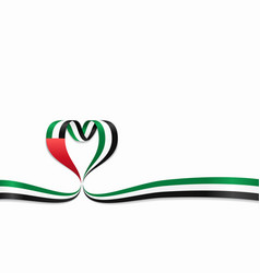 United arab emirates flag heart-shaped ribbon vector