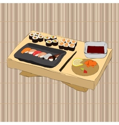 various pieces sushi vector image
