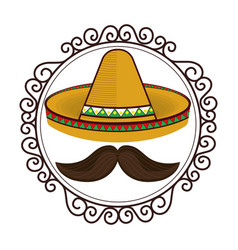 Vintage border with hat and moustache mexican vector