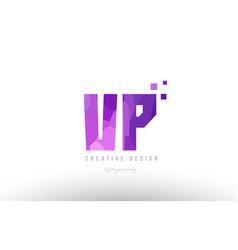 Vp v p pink alphabet letter logo combination with vector