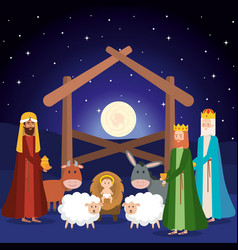 Wise kings manger characters vector