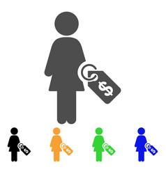 Woman price tag icon vector