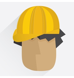 Worker head in helmet in flat style vector