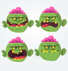 zombie head scary cartoon emotion flat icons vector image