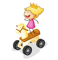 girl on toy horse vector image vector image