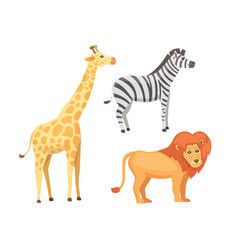 lion zebra and giraffe cartoon vector image vector image