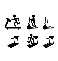 set of treadmill and elliptical icons and symbol vector image