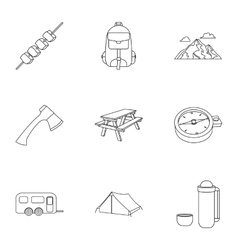 Camping set icons in outline style Big collection vector image vector image