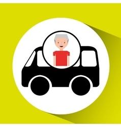 cartoon man elder icon mini bus graphic vector image