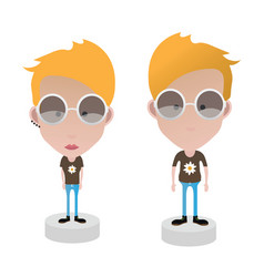 characters female and male vector image