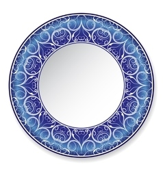 Dark blue decorative plate with pattern vector image vector image