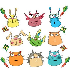 Funny cartoon animals set vector image