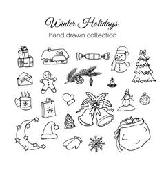 Hand Drawn Christmas Elements Set Winter Holidays vector image