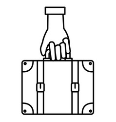 hand with suitcase travel vector image