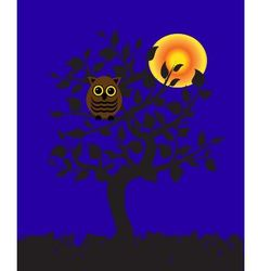 owl on a tree vector image vector image