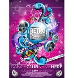 Retro Party Flyer Design with speakers vector image vector image