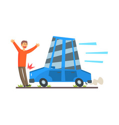 The car knocks down a man car accident colorful vector