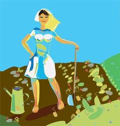 Woman Gardening vector image vector image