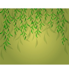 Yellow-green background with green leaves EPS vector image vector image
