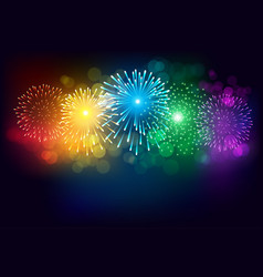 colorful firework on black background for vector image vector image