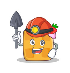 miner waffle character cartoon design vector image vector image