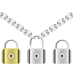 chain and locks vector image vector image