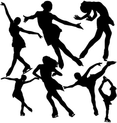 Figure ice skating silhouettes set vector image vector image