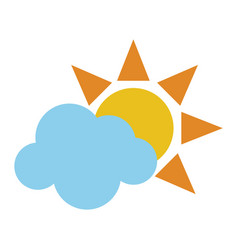 sun and cloud symbol vector image