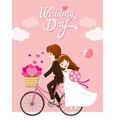 Wedding Card Bride Groom Riding Bicycle vector image