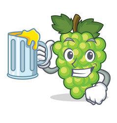 with juice green grapes mascot cartoon vector image